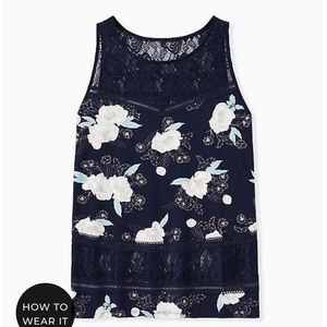 Torrid - Navy Floral Lace Inset Tank